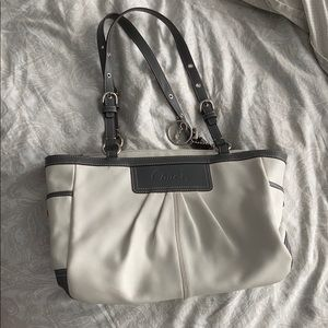 White and grey leather Coach bag